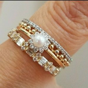 Dainty 14k Yellow Gold pearl promise Ring